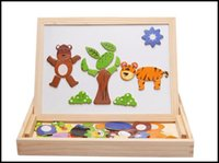 Wholesale 2015 toddler kids fancy toys wooden magnetic multifunctional learning toys baby building blocks sketch pad double size J071006