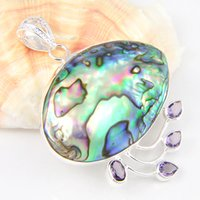 australia plants - Luckyshine Luckyshine Natural Fire Abalone Shell Amethyst Sterling Silver Plated Pendants Russia Australia USA Pendants Jewelry