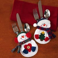 Wholesale Hot Snowman Silverware Fork Knife Holder Pocket Christmas Home Decor Smile Cutlery Pouch