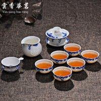 porcelain teapot white - Ceramic bone china tea sets Kung Fu exquisite blue and white porcelain tea cup teapot new suit