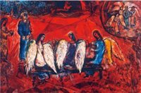 Oil Painting abraham painting - Wall Art Modern Abraham Angels Marc Chagall Painting Canvas Reproduction High quality Hand painted