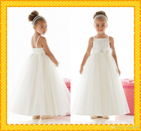 accent trim - Natural Graceful Organza Tea Length Square Neckline A Line Flower Girl Dress With Floral Embellishment Accents Trim Girl s pageant dresses