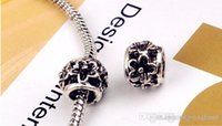Wholesale Hot Flower Round Ball Beads Charm European Charms Bead Fit diy Snake Chain Bracelet Female Jewelry