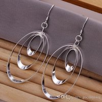 Wholesale Hot Sterling silver Earrings Fashion Multi Circles Pendant Round Earrings Good Christmas Gift for women E180