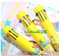 Notes automatic writing - Japan Korea Creative Stationery Ten Colors Ballpoint Pen Spongebob Kitty Automatic Writting Pen For Kids Children Student Top Gift