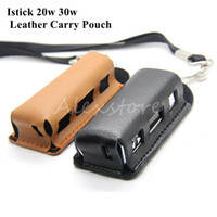 Wholesale 1pcs Istick w w Leather Carry Pouch Bag Carring Case with Lanyard Ring Vapor Holder for Ismoka eleaf i Smart Watt box mod