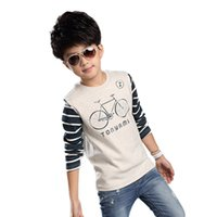 bicycle sweater - Boys Striped Sleeve O Neck Long Sleeve Sweater Kids Bicycle Pattern Mixed Color Sweater The New Spring Autumn Winter Korean Version Q49