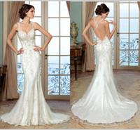 Wholesale 2016 Spring Vintage Mermaid Wedding Dresses Low Back Criss Cross Backless Beaded Crystal Mermaid Wedding Dress Cap Sleeve Bridal Gowns