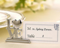 Wholesale 2016 new Wedding favor LOVE Metal Place Card Holder with Matching Place Card Silver wedding gift