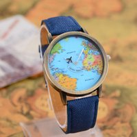 antique world map canvas - Relogio Feminino Hot Sale Vine Watch Women Quartz Antique Canvas Strap Watch Boy Girl Gift World Map By Plane Watches