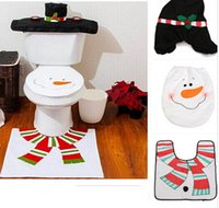 bathroom candle decoration - New XMAS Snowman Toilet Seat Cover Rug Bathroom Mat Set Christmas Decorations Happy Santa