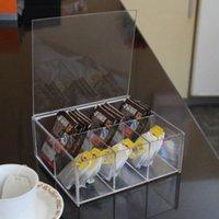 acrylic tea box - 1603 New arrival transparent acrylic milk tea bag coffee bag desktop storage box