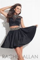 Wholesale 2015 Short Two Piece Rachelallan Homecoming Dresses Vestidos Sheer High Neck Beaded Black Taffeta Prom Party Gowns