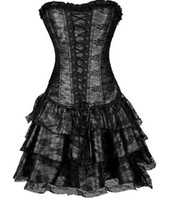 slips - hot sale shapers colors lace evening sexy women corset and bustier Plus Size Push up Sexy Gothic corset dress with skirt