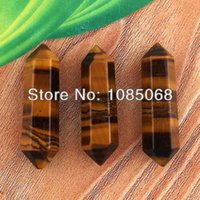 Wholesale 10Pcs Charm Tiger s eye Stone Hexagon Prism Pendulum Stone Bead Jewelry Making x8mm