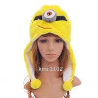 Wholesale Faux Fur Hat Fluffy Plush Soft Cartoon Winter Hats Despicable Me Minions Jorge Dave Stewart Minion D Cosplay Kids Cap Hat MZ5024