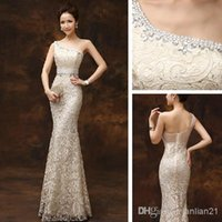 ankle length summer dress - 2015 new evening dresses mermaid fishtail one shoulder lace sexy long zipper slim party host vintage elegant champagne for red carpet