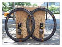 Wholesale 50mm K Twill Cosmic road bike wheelset full carbon red white wheelset clincher Tubular carbon hub is availabler
