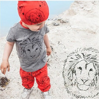 Cheap 2016 New Fashion Boys Clothes Casual Boy Girl Baby Clothes Lion Tops T-shirt + Pants 2pcs Outfits Clothing Set Boys Clothing Boys Suits