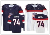 Cheap Factory Outlet, 2014 Customize Olympic T.J. Oshie USA Jersey Stitched Sochi Team USA 74 TJ Oshie Olympic Jersey American Hockey Jersey
