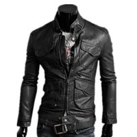 Wholesale Fall Autumn New Arrival Fashion Mens Leather Jackets Long Sleeve Leather Jackets Men Comfort Casual Outdoor Jackets Coats