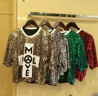 Wholesale New fashion girl new dance hip hop costumes Loose letters sequined t shirt