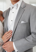 Cheap 2015 New tailored light grey Nortch satin lapel groommens suits Groom Tuxedos groommens suits wedding suits for mens wedding suits(jakcet
