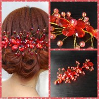 beaded headwear - Chinese Fashion Handmade Flowers Red Crystal Beaded Bridal Hair Accessories Hairpiece Beautiful Bridal Headwear For Wedding Party Headbands
