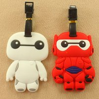 Wholesale Big hero Baymax luggage tags red white big head robot NEW hot sale kawaii cartoon boarding pass children birthday gift