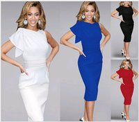 Wholesale Knee Length Tights For Women - New European Pencil Dresses for Prom Fashion Women Summer Tight Ruffled Pleated Sleeves knee length Blue Short Bodycon Plus size for Lady