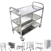 hand trolley - 3 Tiers Stainless Steel Serving Cart Hand Trolley with wheel breaks commercial level hotel equipment utility design kg heavy duty