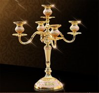 metal ornaments - Five head holder European romantic candlelight dinner wedding props retro candle Taiwan iron ornaments