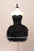 sexy mini skirt - 2015 New Arrival Princess A Line Sweetheart Feather Like Short Skirt lace beaded bodice Black Tulle Prom Dresses
