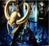 animals around the world - 10pcs thor necklace Thor The Dark World Loki Helmet necklace The movie around the Avengers Movie around Thor mask pendant necklace free ship