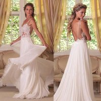 beach chest - 2015 Sheer Braces Lace Appliques in Chest Sexy Open Back Wedding Dresses Ethereal Chiffon Floor Length Ivory White Beach Gowns
