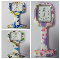 Wholesale New Square Colorful Prints Silicone Nurse Watch Cute Patterns Fob Quartz Watch Doctor Watch Pocket Watches