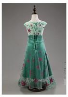Wholesale 2015 Frozen Fever Elsa Sleeveless Green Flower Cosplay Dress for Kids Girls Fantasia Long Cape Costume Free DHL
