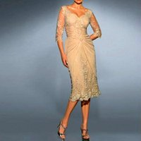 Wholesale 2015 Elegant Appliqued Lace Mother of the Bride Groom Dresses With V Neck Long Sleeves Champagne Chiffon Tea Length Evening Dresses