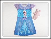 Summer baby night gowns - 2015 Frozen short sleeve cotton princess dress Girls cartoon Elsa and Anna dresses baby night gown clothes J30386 DHL
