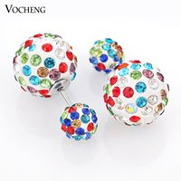 earrings - Double Ball cc Design Stud Earring Crystal Earring Colors Brinco Women Earring Ve Vocheng Jewelry