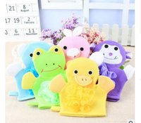 baby bath sponges - New home Multi function baby cute cartoon bath gloves Baby animal modelling rubbing towel