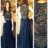 black and white evening dresses - Robe De Soiree Evening Dresses New Arabic Illusion Crew Neck and Back Crystal Beads A Line Prom Gowns Formal Evening Gowns Vestidos
