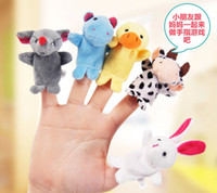 Wholesale Lovely Retail Baby Plush Toy Finger Puppets Talking Props animal group set