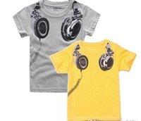 Wholesale Children Boys Cute Cartoon Short Sleeve T shirts Kids Printed Casual Tops Childs Tshirts Gray