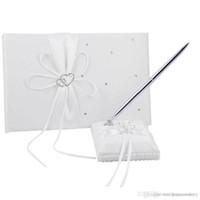 Wholesale 2Pcs setSatin Wedding Guest Bookand Pen Set Colors Home Party Wedding Decoration Airticles Supply SXZ