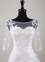 Wholesale 2015 New Arrival Long Sleeve Lace Bridal Bolero Jacket Elegant Cheap Tulle Wedding Jackets With Lace Appliques