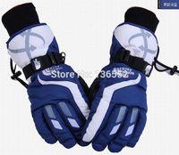 Wholesale 2015 unisex blue ski gloves mens womens full finger snowboarding skiing gloves unisex riding skating gloves dark blue waterproof thermal