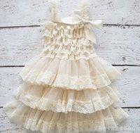 al por mayor vestido del tutú del puente de bebé-Vestido floral del tutú del vestido del cordón del niño de la NUEVA de la LLEGADA del cordón del vestido del cordón del niño de la torta de la correa del zigzag