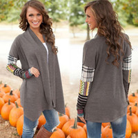 Wholesale Elegant And Stylish Outwear Women Long Sleeved Stitching Knit Cardigan Tshirts National Wind Printed Jacket In Gray Top Quality