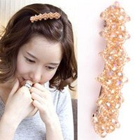 Wholesale Free ship pc Exquisite crystal beaded hair clips folder rhombus shiny beaded edge hairwear order lt no tracking